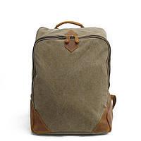 Классический рюкзак Газда (канва + натуральна шкіра) міський портфель crazy horse Rootless