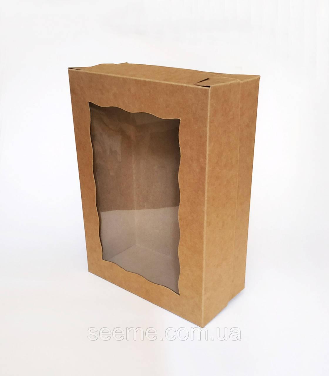 Коробка із крафт картону для упаковки ляльок ручної роботи 255x180x90 мм