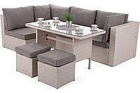 Комплект садовой мебели плетеной из ротанга MILANO DINNER бежевый