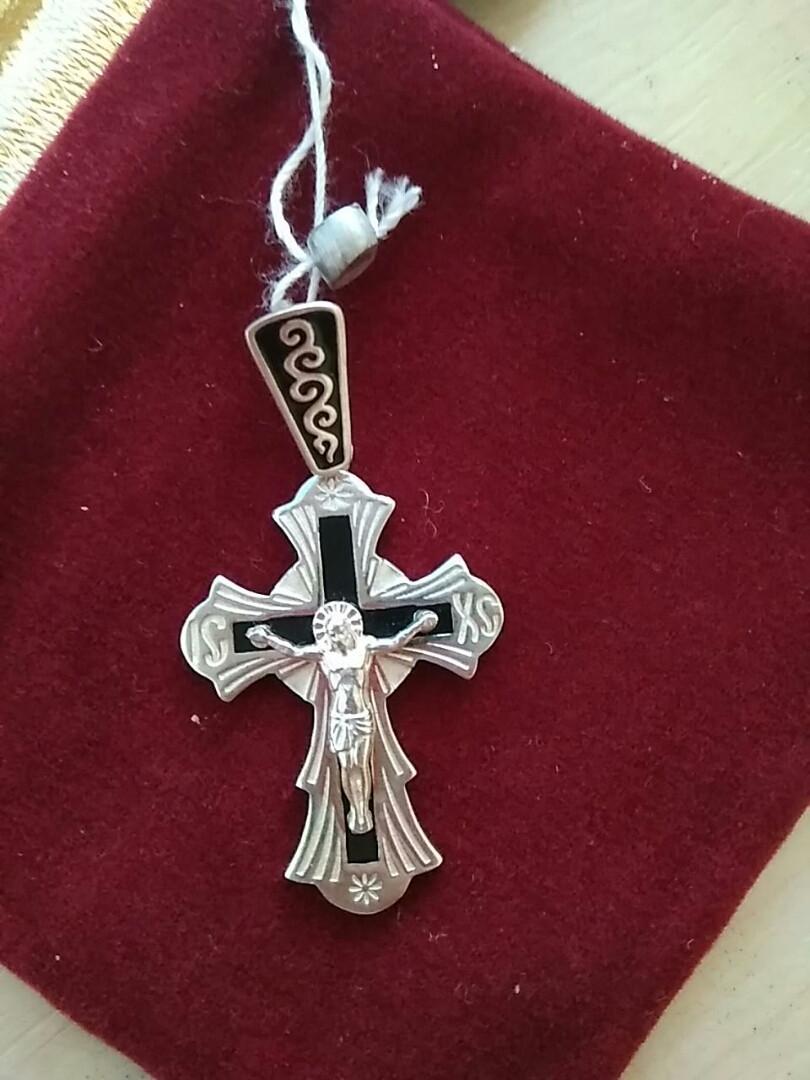 Серебряный крестик 925 пробы с эмалью