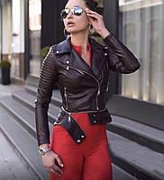 Весенняя женская черная кожаная куртка косуха трансформер 2020