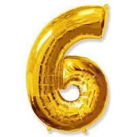 Шарик воздушный фольгированный цифра 6 золото ,  FLEXMETAL, 100 СМ (40')