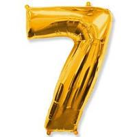 Воздушный шар фольгированный цифра 7 золото ,  FLEXMETAL, 100 СМ (40')