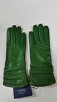 Перчатки женские кожаные зеленые