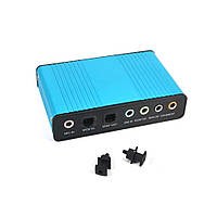 Внешняя 5.1 USB звуковая аудио карта на 6 каналов / 3 мини джека SPDIF Toslink оптика