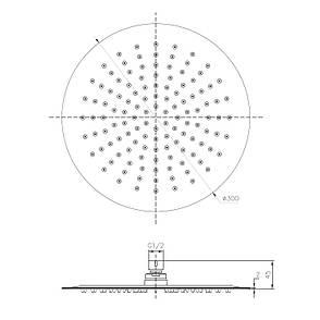 Душ верхний  300 мм, 2 мм, сталь, фото 2
