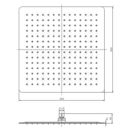 Душ верхний  400х400 мм, 2 мм, сталь, фото 2