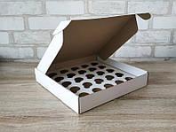 Коробка для 25 міні-кексів, мафінів, капкейків 270*255*45 біла