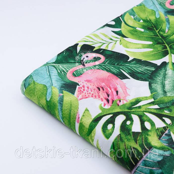 """Отрез ткани """"Розовый фламинго и густые листья пальм"""" на белом фоне №2336а, размер 140*160"""