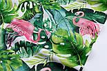 """Отрез ткани """"Розовый фламинго и густые листья пальм"""" на белом фоне №2336а, размер 140*160, фото 2"""