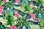"""Отрез ткани """"Розовый фламинго и густые листья пальм"""" на белом фоне №2336а, размер 140*160, фото 3"""