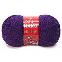Пряжа Nako Nakolen 188 фиолетовый (нитки для вязания Нако Наколен) полушерсть 49% шерсть, 51% акрил