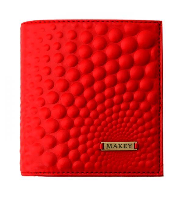 """Гаманець жіночий шкіряний на внутрішній кнопці з кишенею для монет """"Bubbles mini"""" (Макей). Колір червоний"""
