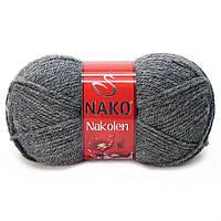Пряжа Nako Nakolen 193 темно-серый мулине (нитки для вязания Нако Наколен) полушерсть 49% шерсть, 51% акрил