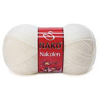 Пряжа Nako Nakolen 208 белый (нитки для вязания Нако Наколен) полушерсть 49% шерсть, 51% акрил