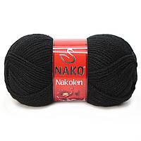 Пряжа Nako Nakolen 217 черный (нитки для вязания Нако Наколен) полушерсть 49% шерсть, 51% акрил