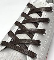 Шнурки с пропиткой плоские темно-коричневые 150 см (Ширина 7 мм), фото 1