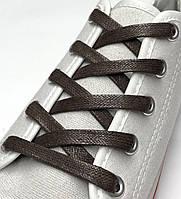 Шнурки с пропиткой плоские темно-коричневые 200 см (Ширина 7 мм), фото 1