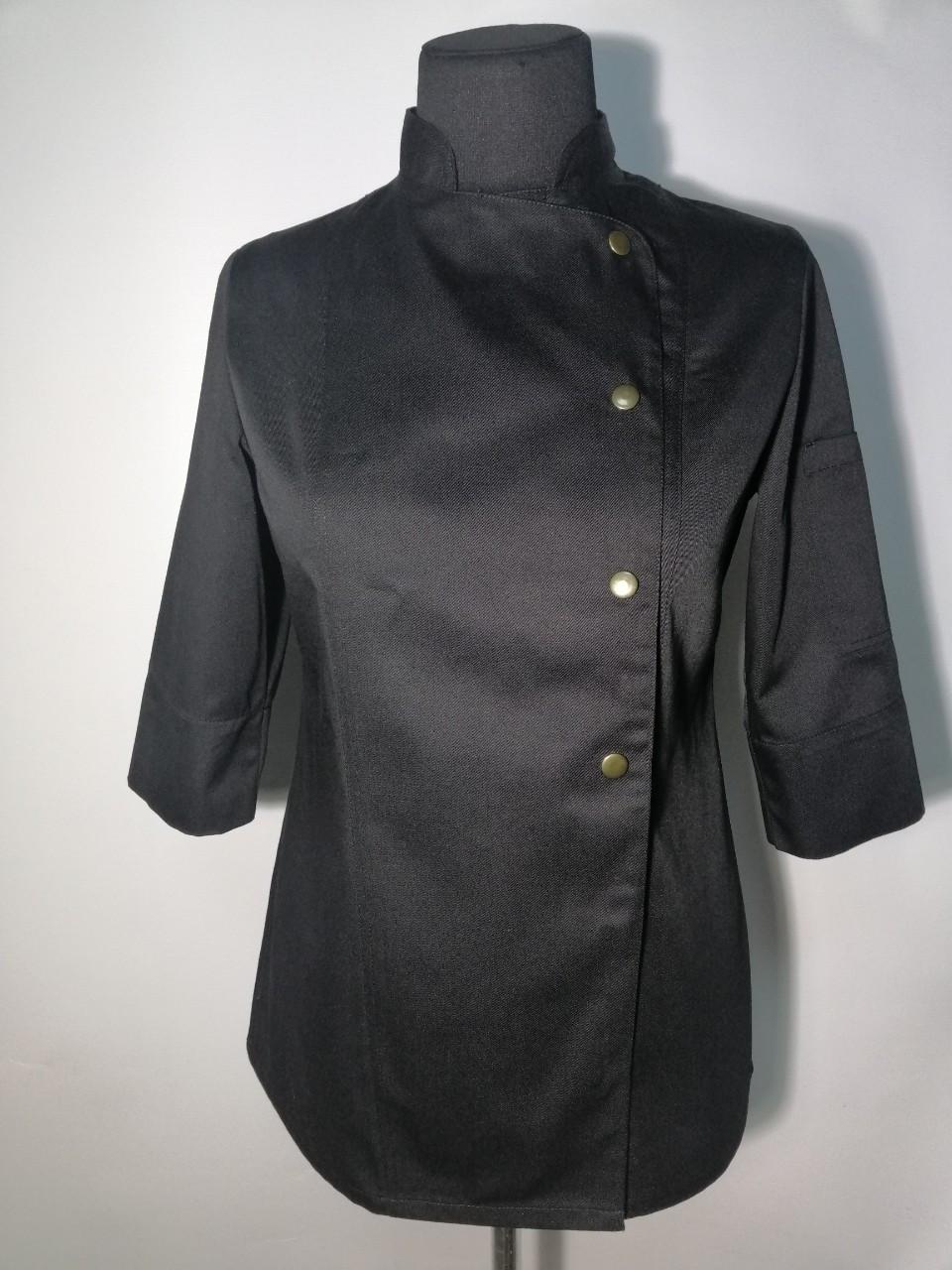 Китель поварской женский на кнопках черный Atteks - 00958