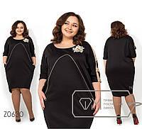 Платье из французского трикотажа больших размеров - Черный