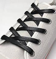Шнурки с пропиткой плоские черные 80 см (Ширина 7 мм), фото 1