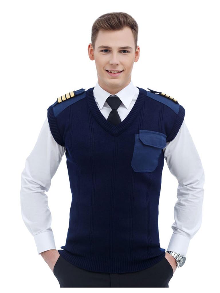 """Жилет форменный """"Commander V"""", v-образный воротник, CODIRISE™, тёмно-синий"""