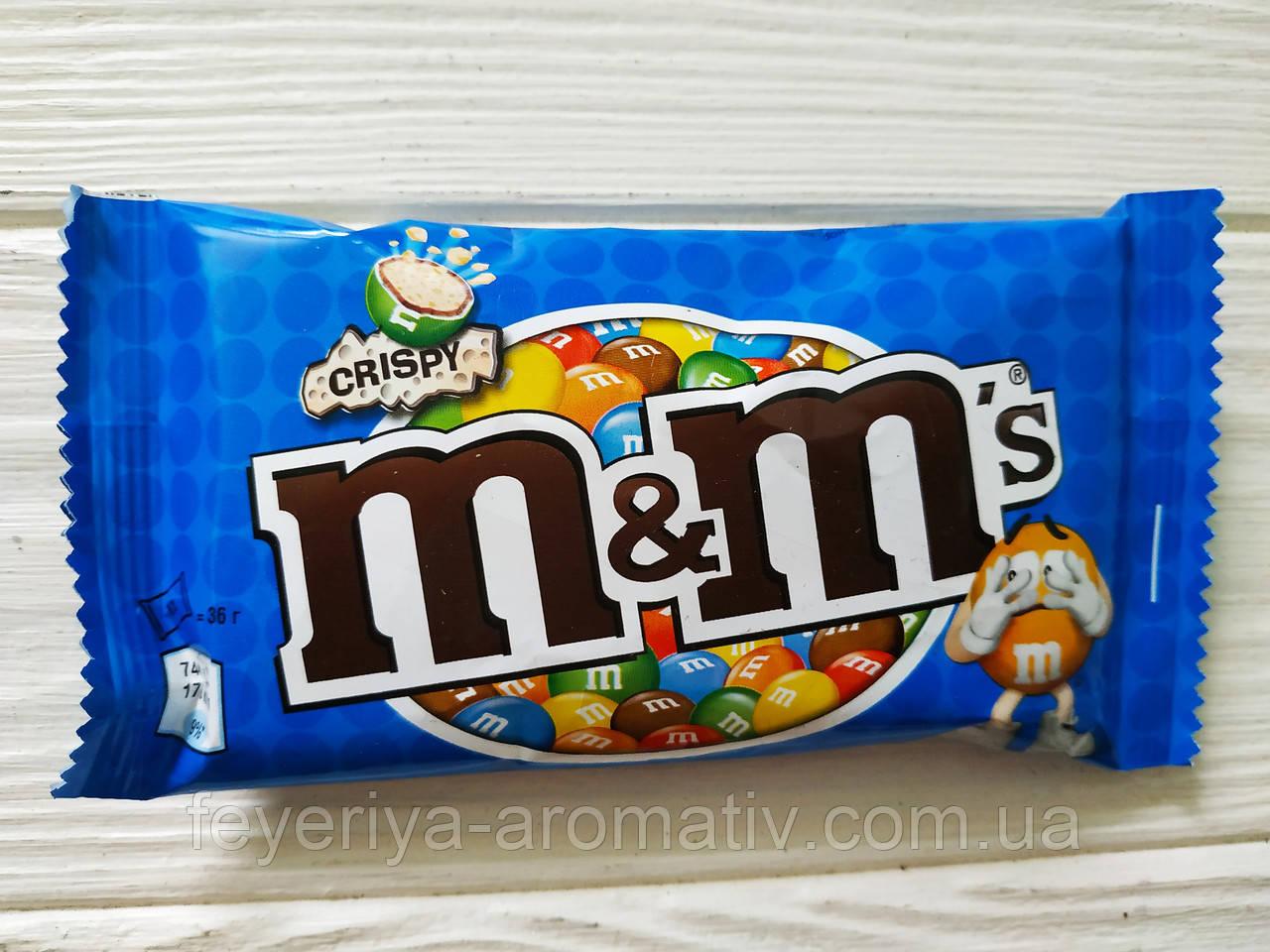Драже M&M's с рисовыми криспами в шоколаде и глазури 36гр (Польша)