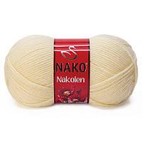 Пряжа Nako Nakolen 256 крем (нитки для вязания Нако Наколен) полушерсть 49% шерсть, 51% акрил