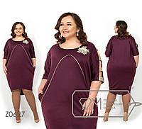 Платье из французского трикотажа больших размеров - Бордовый