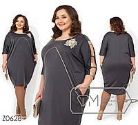 Платье из французского трикотажа больших размеров - Серый