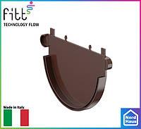 FITT пластиковые водосточные системы. Заглушка желоба Fitt 125 коричневый