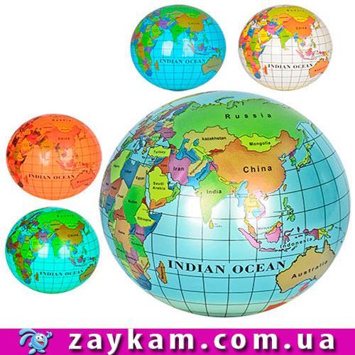 Мяч дитячий MS 0477 9, глобус, малюнок, ПВХ, 75 г, 6 кольорів, кул,