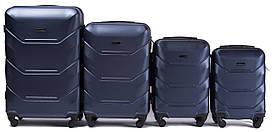 Набор чемоданов 4 штуки в 1 Wings 147 на 4 колесах Темно-синий