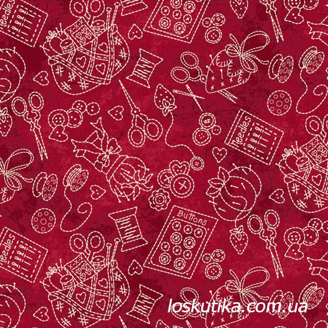 52018 Ткань для мастерицы. Ткань с принтом на тему рукоделие. Подойдет для шитья и декора.