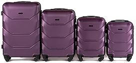 Набор чемоданов 4 штуки в 1 Wings 147 на 4 колесах Сливовый