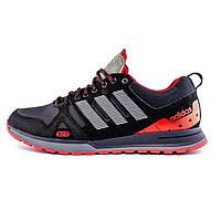 Мужские кожаные кроссовки в стиле Adidas A19 Red Star красные, фото 1
