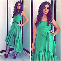 Летнее зелёное платье