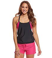 Спортивный купальник  шортиками розовый и с черной майкой Размер S