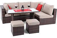 Комплект садовой мебели плетеной из ротанга MILANO DINNER  коричневый