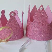 Корона розовый глиттер