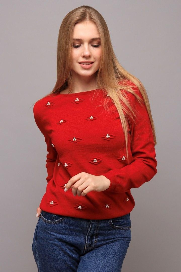 Джемпер Цветы красный (Код AL-ald00402)