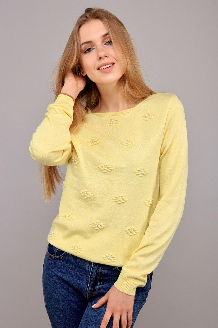 Джемпер Цветы лимон (Код AL-ald00403)