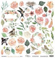 Папір односторонній для вирізання - Цветы - Peaches & Cream - Scrapmir - 30х30