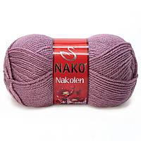 Пряжа Nako Nakolen 569 темная роза (нитки для вязания Нако Наколен) полушерсть 49% шерсть, 51% акрил