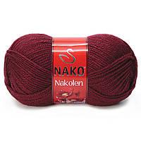 Пряжа Nako Nakolen 999 бордовый (нитки для вязания Нако Наколен) полушерсть 49% шерсть, 51% акрил