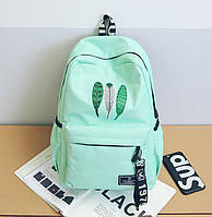 Большой тканевый рюкзак для школы с принтом перо