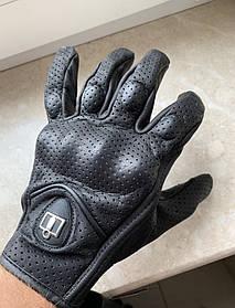 Летние перфорированные Кожаные мото перчатки Icon Pursuit