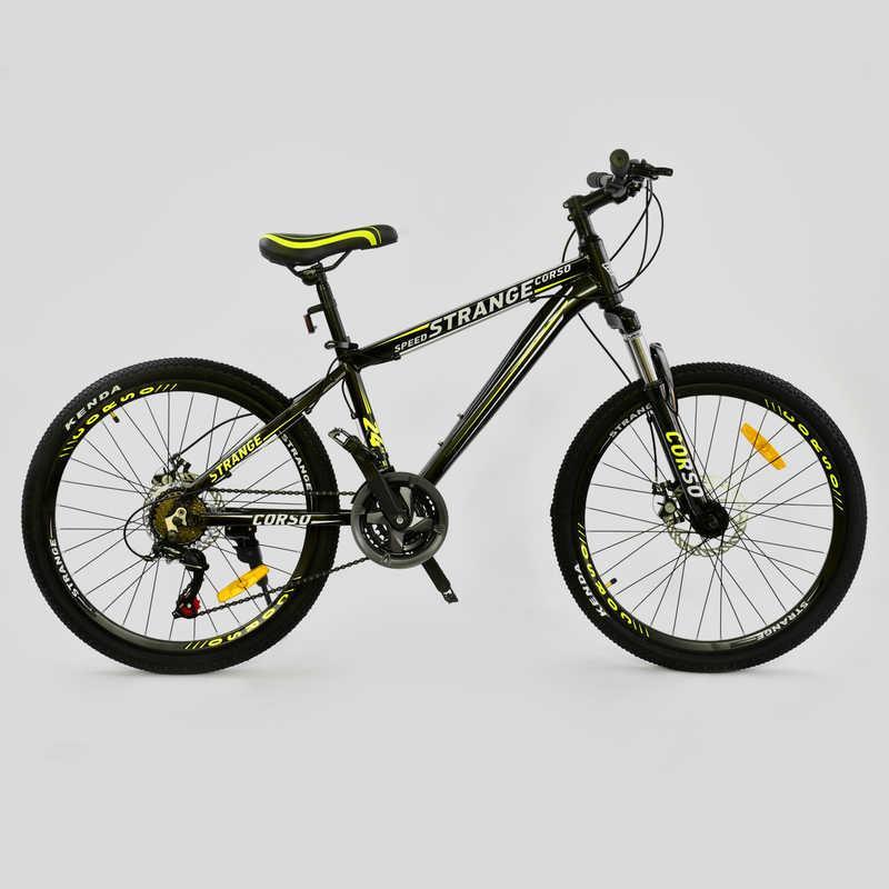 """Велосипед Спортивный CORSO STRANGE 24""""дюйма JYT 004 - 7799 BLACK (1) рама алюминиевая 13``, 21 скорость, собран на 75%"""