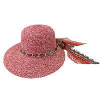 Пляжная женская шляпа с цепочкой маленькая красная 150218