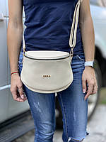 Бежевая женская сумочка через плечо маленькая сумка кросс-боди кожзам